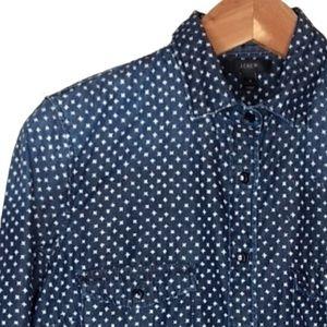 J. CREW Keeper Chambray Shirt Star Dot Print Sz 10